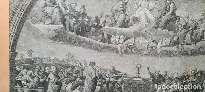 Arte: DISPUTA DEL SACRAMENTO. JOANNES VOLPATO. GRABADO SOBRE PAPEL. ITALIA. SIGLO XVIII - Foto 7 - 287239583