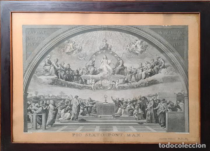 DISPUTA DEL SACRAMENTO. JOANNES VOLPATO. GRABADO SOBRE PAPEL. ITALIA. SIGLO XVIII (Arte - Grabados - Antiguos hasta el siglo XVIII)