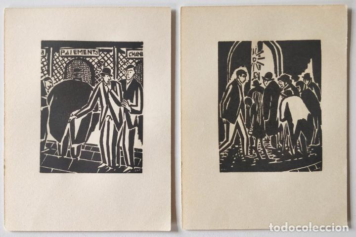 Arte: Lote de dos Grabados original a madera, xilografia Franz Masareel años 30, grabados en las dos caras - Foto 2 - 287489203