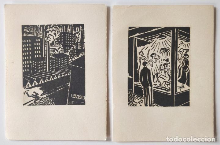 LOTE DE DOS GRABADOS ORIGINAL A MADERA, XILOGRAFIA FRANZ MASAREEL AÑOS 30, GRABADOS EN LAS DOS CARAS (Arte - Grabados - Contemporáneos siglo XX)