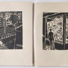 Arte: LOTE DE DOS GRABADOS ORIGINAL A MADERA, XILOGRAFIA FRANZ MASAREEL AÑOS 30, GRABADOS EN LAS DOS CARAS. Lote 287489203