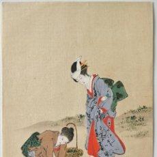 Arte: EXQUISITO GRABADO JAPONÉS ORIGINAL DE FINALES DEL SIGLO XIX, UKIYO-E, RETRATO DE DOS GEISHAS. Lote 287545613