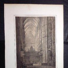 Arte: F.J. PARCERISA. PÓRTICO INTERIOR DE LA CATEDRAL DE LEÓN.. Lote 287956303