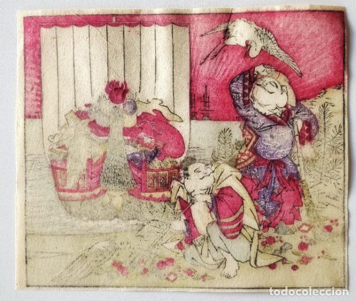 Arte: Interesante grabado japonés original del siglo XIX, preciosos colores, circa 1860, gran calidad - Foto 2 - 287978328