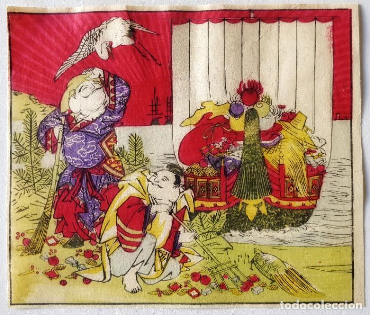 INTERESANTE GRABADO JAPONÉS ORIGINAL DEL SIGLO XIX, PRECIOSOS COLORES, CIRCA 1860, GRAN CALIDAD (Arte - Grabados - Modernos siglo XIX)
