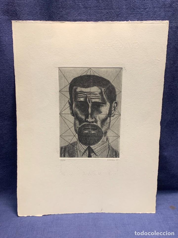 GRABADO FIRMADO A. ALCAIN 1969 10/50 ROSTRO HOMBRE BARBA SERIE EL LUTE 35X26CMS (Arte - Grabados - Contemporáneos siglo XX)