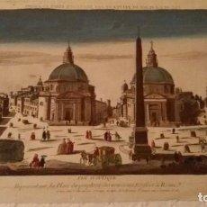 Arte: VUE D´OPTIQUE REPRESÉNTANT, LA PLACE DU PEUPLE ET DES NOUVEAU EDIFICIES A ROME Nº120.GRABADO SXVIII.. Lote 288704338