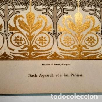 Arte: Precioso Grabado Art Nouveau circa 1900 Antique Unique - Foto 3 - 288861033