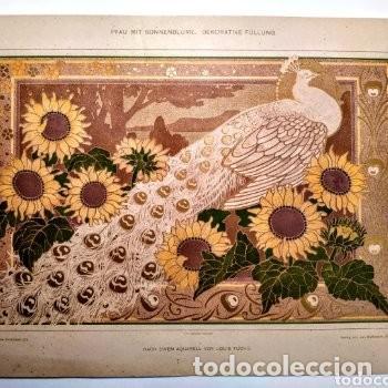 Arte: Grabado Art Nouveau circa 1900 Antique Unique - Foto 2 - 288861528