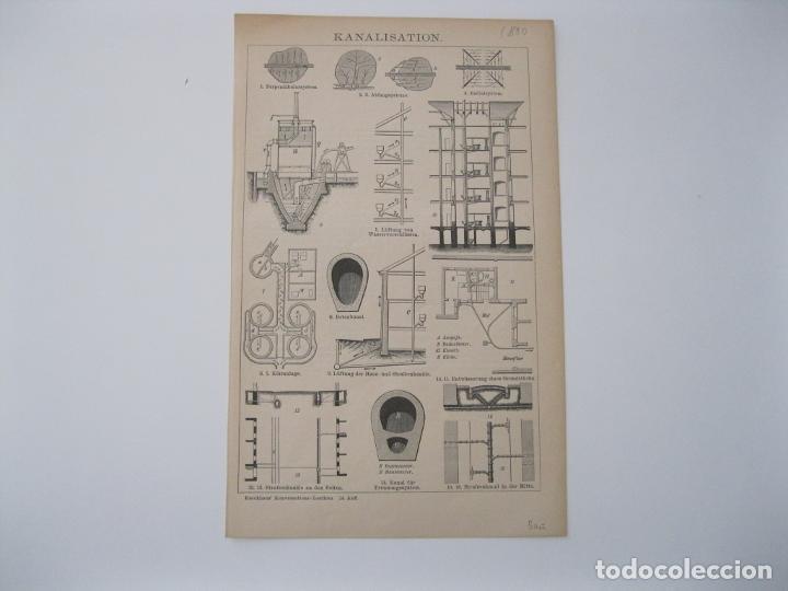 Arte: Canalización urbana, hacia 1880. Anónimo - Foto 2 - 288915453