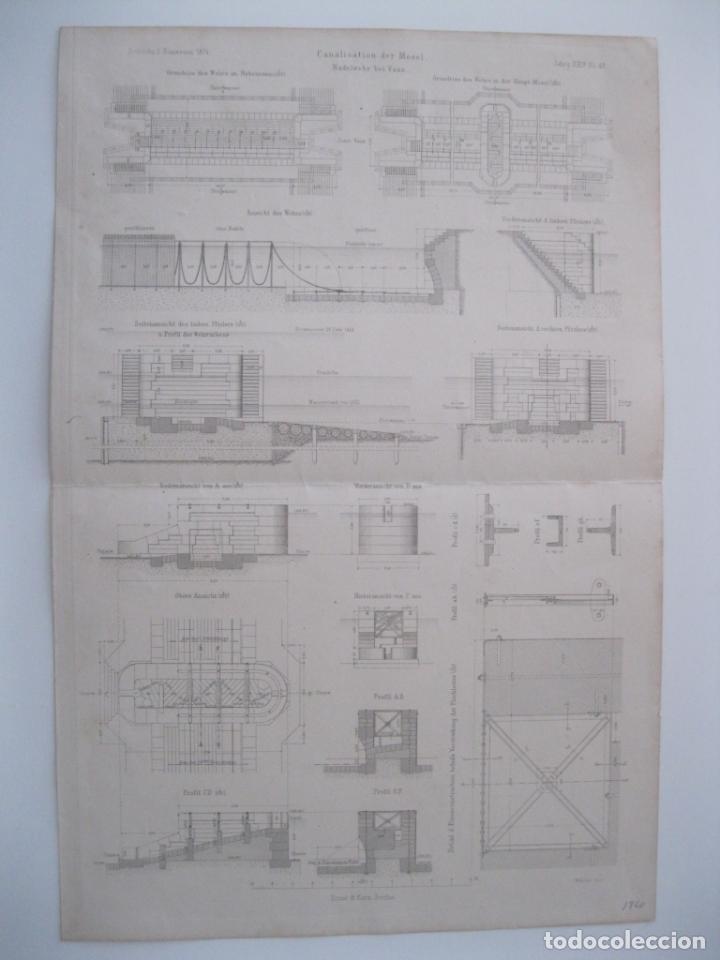 Arte: Canalización de Mosela (Alemania), hacia 1860. Anónimo - Foto 2 - 288916098
