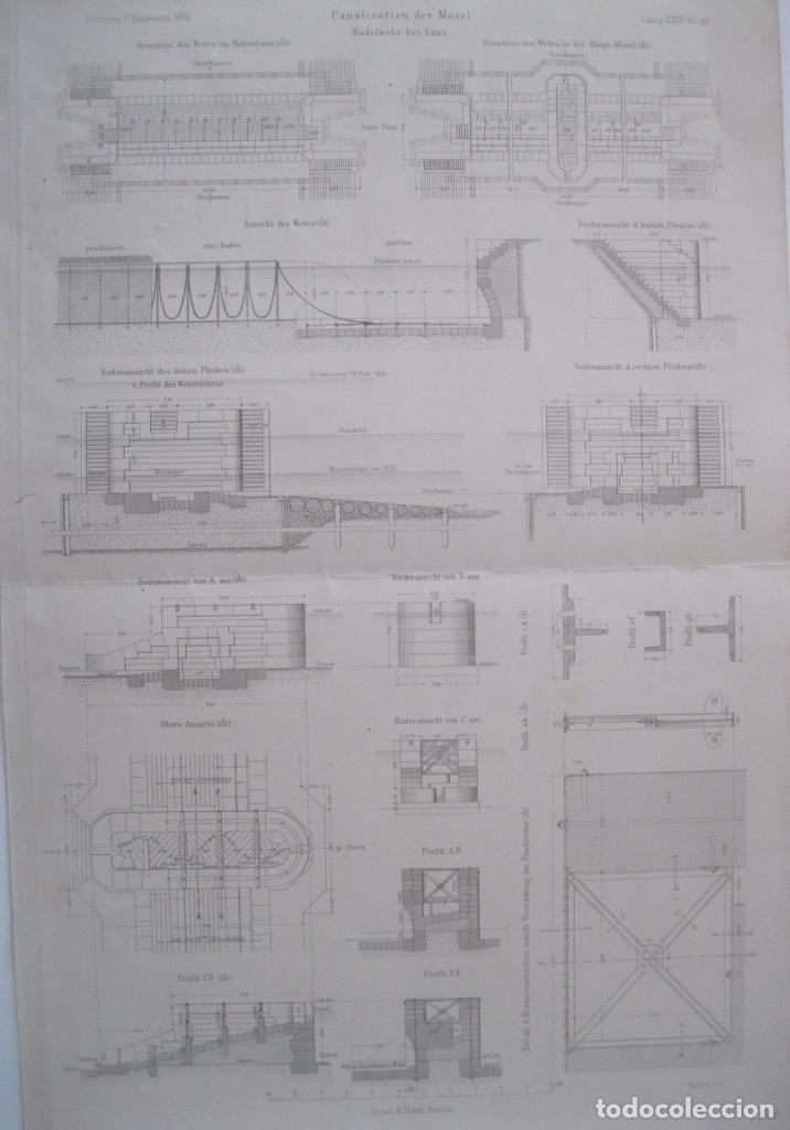 CANALIZACIÓN DE MOSELA (ALEMANIA), HACIA 1860. ANÓNIMO (Arte - Grabados - Modernos siglo XIX)