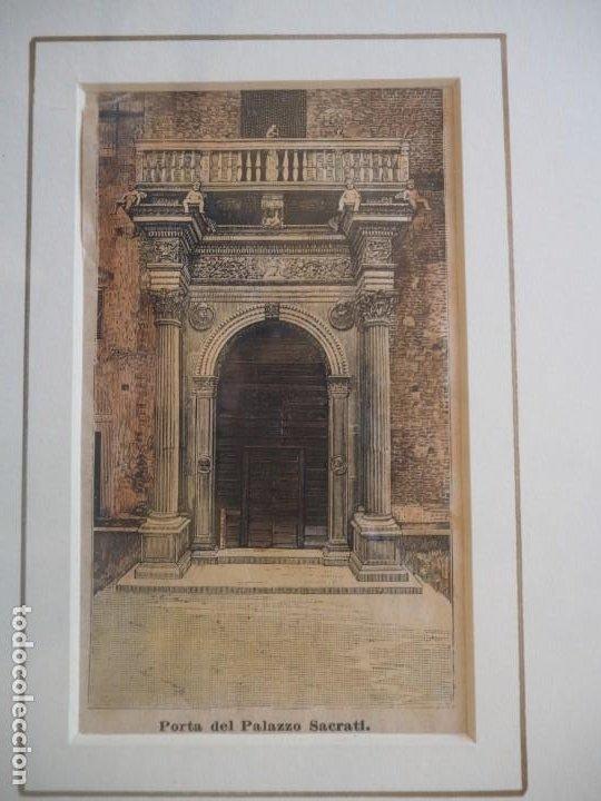 Arte: Palacio Prosperi- Sacrati. Ferrara. Grabado. Enmarcado. - Foto 4 - 288930388