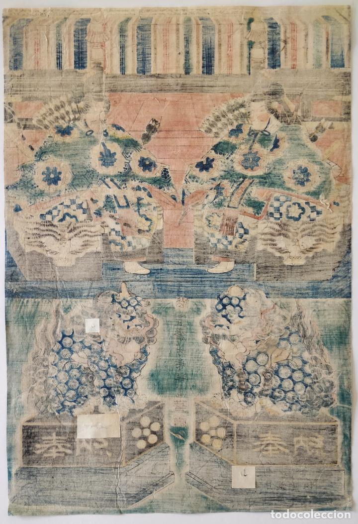 Arte: Magistral grabado japonés original de principios siglo XIX, circa 1820, gran calidad, samurais - Foto 2 - 288939668