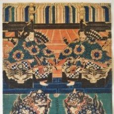 Arte: MAGISTRAL GRABADO JAPONÉS ORIGINAL DE PRINCIPIOS SIGLO XIX, CIRCA 1820, GRAN CALIDAD, SAMURAIS. Lote 288939668
