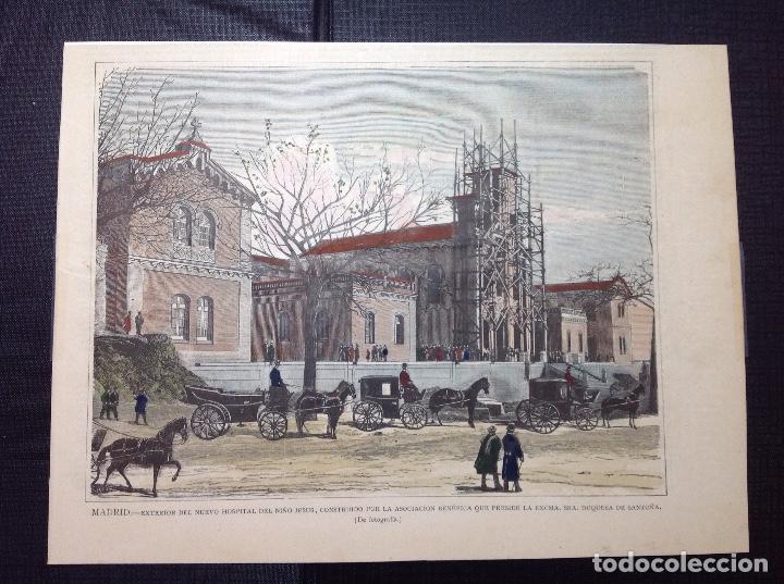 CAPUZ. EXTERIOR DEL NUEVO HOSPITAL DEL NIÑO JESUS. (Arte - Grabados - Modernos siglo XIX)