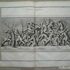 Arte: TRABAJOS LEGIONARIOS EN LA COLUMNA DE TRAJANO (ROMA, ITALIA), 1719. MONTFAUCON /DELAULNE & FOUCAULT. Lote 289804053