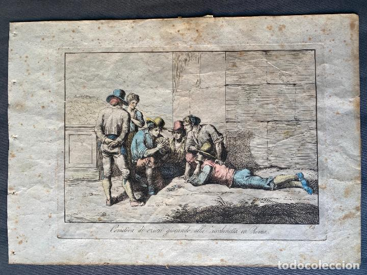 BARTOLOMEO PINELLI , ETCHING 1815 ROMA , COMITIVA , GRABADO DE 1815 (Arte - Grabados - Antiguos hasta el siglo XVIII)