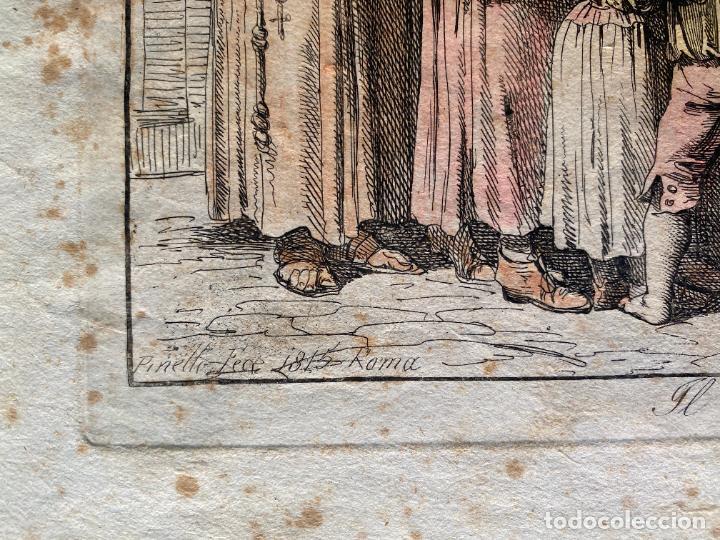 Arte: BARTOLOMEO PINELLI , ETCHING 1815 ROMA , IL CASOTTO DEI BURATTINI IN ROMA , GRABADO DE 1815 - Foto 7 - 289814603