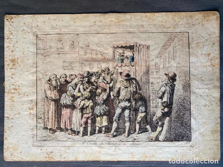 BARTOLOMEO PINELLI , ETCHING 1815 ROMA , IL CASOTTO DEI BURATTINI IN ROMA , GRABADO DE 1815 (Arte - Grabados - Antiguos hasta el siglo XVIII)