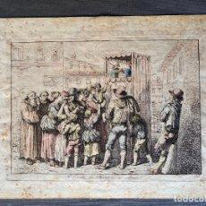 Arte: BARTOLOMEO PINELLI , ETCHING 1815 ROMA , IL CASOTTO DEI BURATTINI IN ROMA , GRABADO DE 1815. Lote 289814603