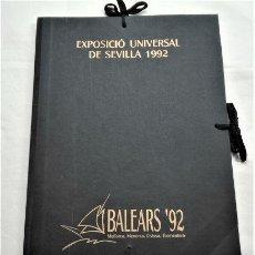 Arte: BALEARS '92. EXPOSICIÓ UNIVERSAL DE SEVILLA 1992. CARPETA CON 10 OBRAS EN PAPEL, FIRMADAS. Lote 290712553