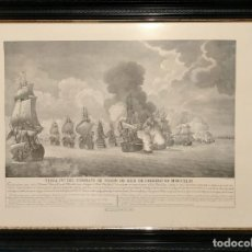 Arte: EXCEPCIONAL GRABADO BARCOS NAVAL DE SIMON BRIEVA: VISTA IV DEL COMBATE DE TOLON MDCCXLIV SIGLO XVIII. Lote 292404948