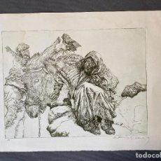 Arte: MANUEL ALCORLO , GRABADO , PAREJA DE ANCIANOS CON SU BURRO ,. Lote 293635138