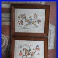 Arte: ANTIGUOS GRABADOS INGLESES COLOREADOS DE CABALLOS. Lote 294731118