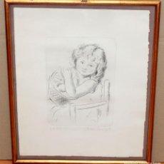 Arte: ANTONI VILA ARRUFAT (SABADELL, 1894 - 1989) GRABADO ORIGINAL FIRMADO A LAPIZ. NIÑA CON CESTA. Lote 294998423