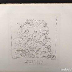 Arte: UGOLINO Y SUS HIJOS, MIGUEL ANGEL, GRABADO COBRE, GEMALDE GALLERIE 1814, PLANCHA Nº 75, MITOLOGICO. Lote 295409538