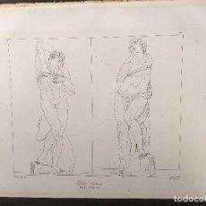 Arte: DOS ESCLAVOS, MIGUEL ANGEL, GRABADO COBRE, GEMALDE GALLERIE 1814, PLANCHA Nº 77, MITOLOGICO. Lote 295409938
