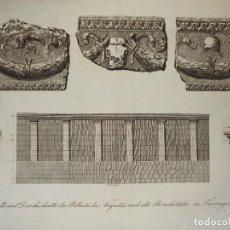 Arte: ESPLÉNDIDO GRABADO DETALLES ARQUITECTÓNICOS TORRE PILATOS, TARRAGONA, LABORDE, LEIPZIG, 1811. Lote 295505833