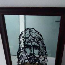 Arte: IMPRESIONANTE CUADRO PINTADO SOBRE CRISTAL Y FIRMADO. ROSTRO DE CRISTO. Lote 295530013