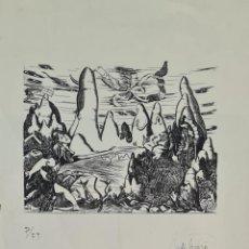 Arte: JORDI SAMSÓ. MONTAÑA DE MONTSERRAT. GRABADO SOBRE PAPEL. 1992.. Lote 295565978