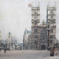 Arte: EDWARD KING (SIGLO XX) GRABADO FIRMADO A MANO POR EL ARTISTA. WESTMINSTER ABBEY (LONDON). Lote 296059528