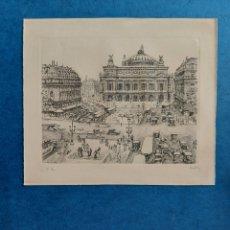 """Arte: """" LA PLAZA DE LA OPERA PARIS 1927"""" GRABADO. Lote 296823108"""