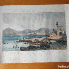 Arte: BARCELONNE , VUE PRISE DU MOLE. PAR ROUARGE, LITH PAR EUG. CICERI. IMP LEMERCIER. DUSACO ET CIE.1864. Lote 296902573