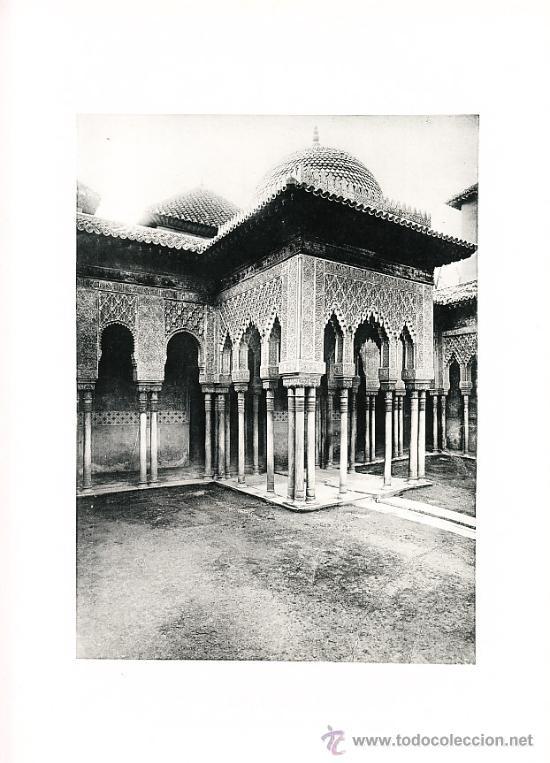 LAMINA EN HUECOGRABADO 25X32 FOT.HAUSER Y MENET GRANADA ALHAMBRA TEMPLETE DEL PATIO DE LOS LEONES (Arte - Huecograbado)