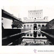 Arte: LAMINA EN HUECOGRABADO 25X32 FOT.HAUSER Y MENET GRANADA ALHAMBRA PATIO DE LAS DOS ARRAYANES. Lote 12810175