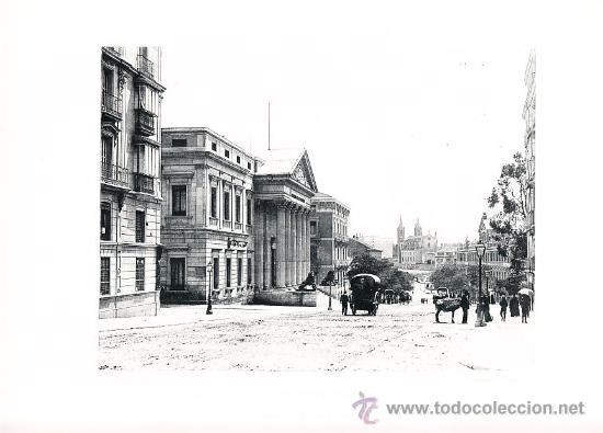 LAMINA EN HUECOGRABADO 25X32 FOT.HAUSER Y MENET MADRID CARRERA DE SAN GERONIMO (Arte - Huecograbado)