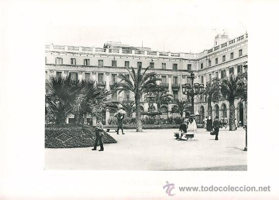 LAMINA EN HUECOGRABADO 25X32 FOT.HAUSER Y MENET BARCELONA PLAZA REAL (Arte - Huecograbado)