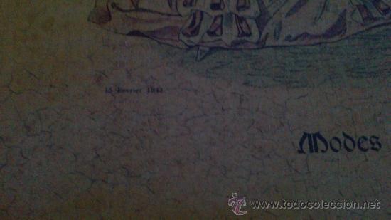 Arte: CUADRO MODES DE PARIS CON LEYENDA 15 FEVRIER 1843 - Foto 11 - 35543372