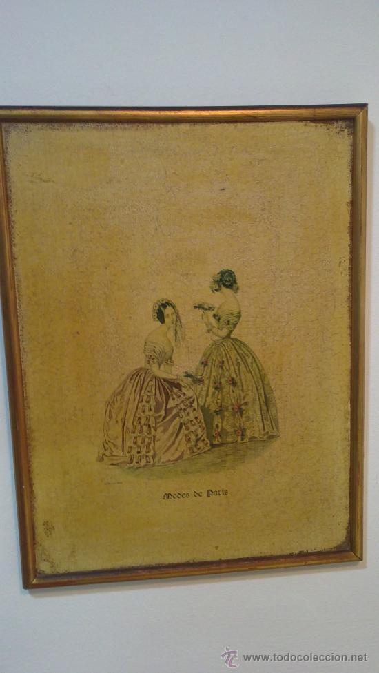 CUADRO MODES DE PARIS CON LEYENDA 15 FEVRIER 1843 (Arte - Huecograbado)