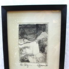 Arte: HUECOGRABADO ENMARCADO. CIRCA 1970. MARCO DE MADERA. Lote 35568406