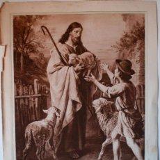 Arte: PRECIOSO HUECOGRABADO MUMBRU. EL DIVINO PASTOR (PLOCKHORST, PINXIT) ANTIGUO . Lote 35820390