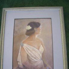 Arte: UNA SEÑORITA - OBRA DE ELENA OLIVERA S.XX.- CON MUCHOS DETALLES - MEDIDAS DE MARCO:28CMX34CM. Lote 41142260