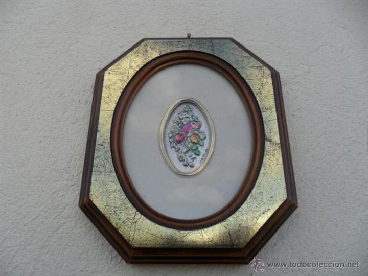 CUADO EXAGONAL CON FLORES ES DE PLATA (Arte - Huecograbado)