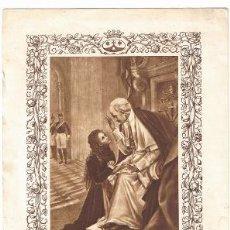 Arte: LAMINA- SANTA TERESITA AL PIE DE SS.LEON XIII 23X16 CM. 1920 HUECOGRABADO MUMBRU-BARCELONA. Lote 42841835