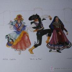 Arte: AVILA BAILE DE TRES TRAJES ESPAÑOLES.PAPEL GRAN CALIDAD Y ALTO GRAMAJE.42X56.5. Lote 43940745